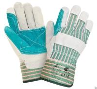 Перчатки спилковые комбинированные усиленные 0110