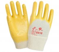 Перчатки W.G. х/б с нитрилом, Маслобензостойкие, Кислотощелочестойкие (желтые), 0516