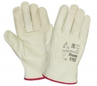 Перчатки DRIVER кожаные, белые, арт.0182
