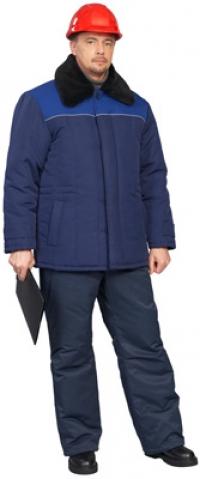"""Куртка мужская """"Иртыш-2"""" темно-синий с васильковой отделкой, с капюшоном"""