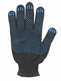 Перчатки полушерстяные, черные с ПВХ - 7,5 класс 6 нитей