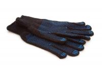 Перчатки полушерстяные, черные с ПВХ - 7 класс 4 нити арт701
