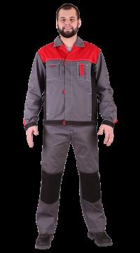 Костюм мужской «Город» (куртка+п/комб.), серый/красный/чёрный