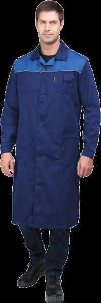 Халат Стандарт мужской тёмно-синий с васильковым