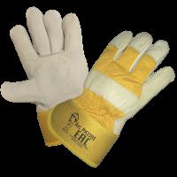 Перчатки кожаные комбинированные (2305), белый/желтый