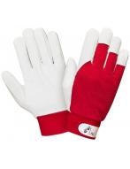 Перчатки комбинированные (кожа+красный трикотаж) на велкро, арт. 0255
