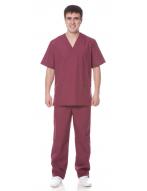 Костюм Хирурга с отложным воротником тк.тиси, цв.бордовый
