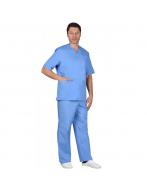 Костюм Хирурга с отложным воротником тк.тиси, цв.голубой