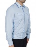 Рубашка  голубая на резинке с длинным рукавом