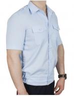 Рубашка  голубая на резинке с коротким рукавом